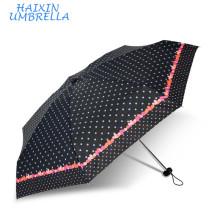 Empresas de manufatura chinesas Mini Sombrillas Pontos e corações Custom Print 5 Folding Umbrella Pocket Size