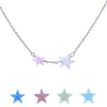 Женская Мода Синтетический Огненный Опал Звезда 925 Стерлингового Серебра Цепи Ожерелье