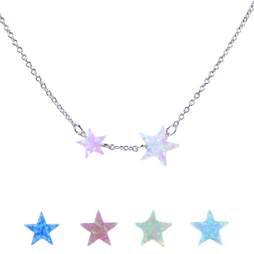 Fashion Women Synthetic Fire Opal Star 925 Sterling Silver Chain Necklace