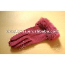 fur cuff ladies cashmere gloves