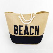 Wholesale custom women big jute beach rope hand bag trend ladies beach tote handbag with rope handle