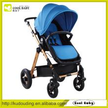 China Baby Kinderwagen Hersteller Reversible Seat Swivel Wheels mit Aufhängung Abnehmbare Armlehne Blue Baby Kinderwagen