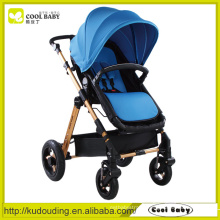 China Baby Stroller Manufacturer Reversible Seat Swivel Wheels with Suspension Removable Armrest Blue Baby Stroller