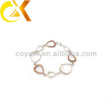 stainless steel jewelry heart link rose gold plating bracelet for girl
