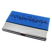 Aço inoxidável com suporte de cartão de PU, caso de cartão de visita com logotipo do cliente
