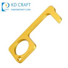 Anti Touch Door Handle Opener Keyring Hands Free Protective Hygiene Hand Brass Hook Keychain Sanitary Door Opener Stylus