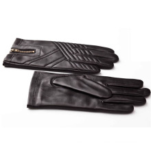 Men′s Fashion Zipper Leather Motorcycle Driving Gloves (YKY5184-1)