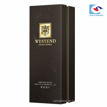 Top Qualität benutzerdefinierte schwarz Karton Verpackung Geschenk Großhandel Papier Wein Box