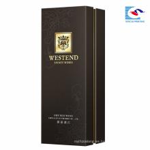 Caja de vino de papel al por mayor de encargo de alta calidad de la cartulina negra de encargo