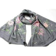 high quality multiflora pattern print long scarf fringe on four side super soft hand feeling