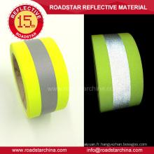T/C jaune fluorescent sauvegarde ruban de signalisation réfléchissant