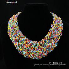 Fashionme стекла ручной работы бисером ожерелье