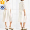 Branco Três Quartos Comprimento Manga Plissada Algodão Midi Vestido de Verão Fabricação Atacado Moda Feminina Vestuário (TA0322D)