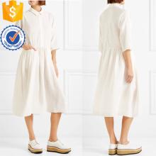 Blanc Trois-quarts Longueur Manches Coton Plissé Midi Robe D'été Fabrication En Gros Mode Femmes Vêtements (TA0322D)