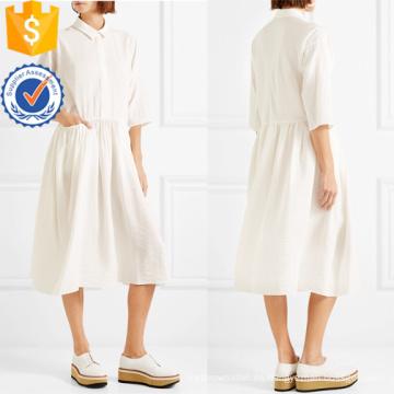 Vestido de manga larga de tres cuartos de algodón plisado de algodón Midi Summer Fabricación de prendas de vestir de mujer de moda al por mayor (TA0322D)