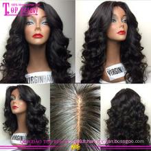 100% de cheveux humains sans colle haut de soie pleine dentelle perruques vierge brésilienne à bas prix en soie top pleine perruques de lacet