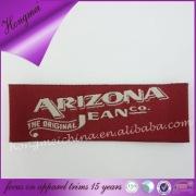 Custum Garment red woven label/jeans main label