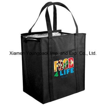 Custom Logo Printed Black Non-Woven Insulated Cooler Shopping Bag