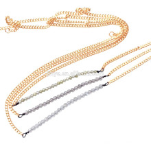 Boho collar de perlas de gema natural delicada simple delicada