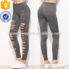 Grey Marled Knit Ripped Leggings OEM/ODM Manufacture Wholesale Fashion Women Apparel (TA7026L)