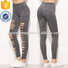 Cinza Marled Malha Rasgado Leggings OEM / ODM Fabricação Atacado Moda Feminina Vestuário (TA7026L)