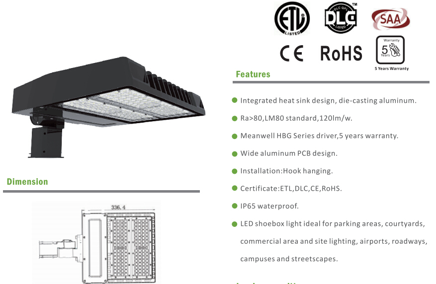 DLC 75W LED Shoe Box Light