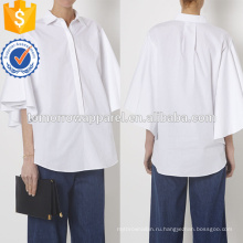 Белый короткий рукав негабаритных рубашка Поплин хлопок Производство Оптовая продажа женской одежды (TA4059B)