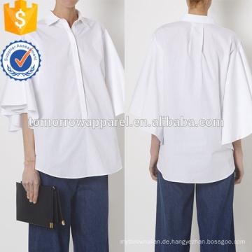 Weiße Kurzarm Oversized Popeline Baumwollhemd Herstellung Großhandel Mode Frauen Bekleidung (TA4059B)