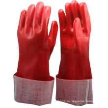 NMSAFETY PVC rojo Totalmente recubierto enclavamiento Guante de algodón