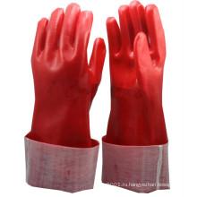 NMSAFETY красный PVC полно покрыл интерлок хлопок Подкладка перчатки