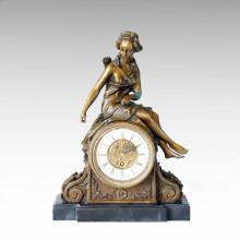 Horloge Statue Diana Sitting Bell Bronze Sculpture Tpc-032