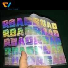 logotipo reflexivo feito sob encomenda do t-shirt da transferência de calor do arco-íris INSTRUÇÕES: