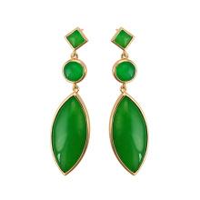 97410 xuping latest design fashion elegant Malay jade 18k gold plated ladies drop earrings