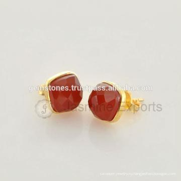 Оптовая Позолоченная Золото Красный Оникс Драгоценный Камень Безель Серьги Производитель Handmade Естественные Ювелирные Изделия Драгоценной Камня