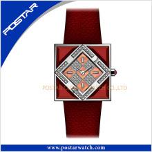 Color Squar-Shaped Swiss Movement Quartz Ladies Special Leather Women Watch