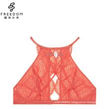 2017 HOT DESIGN womens latest fashion new design beautiful crochet lace high neck keyhole sexy lace bra bralette