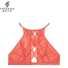 2017 HOT DESIGN moda feminina mais recente design novo lindo crochet laço alto pescoço buraco da fechadura sexy brincadeira de sutiã de renda