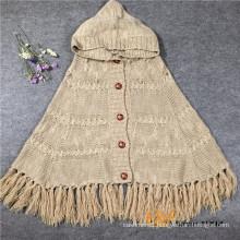 Ladies Knitting Cardigan Acrylic Pashmina Cape Shawl with tassel