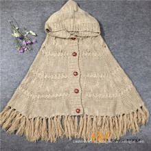 Дамы Вязание кардиган акриловые Пашмины Кабо-пончо с кисточкой