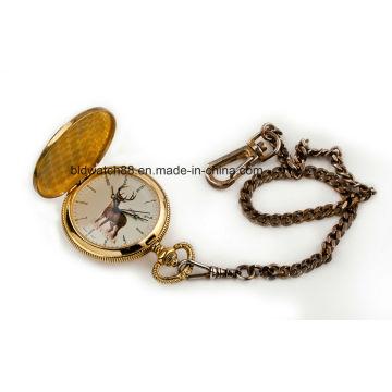 Custom Logo Analog Quartz Gold Pocket Watch Chain 50mm
