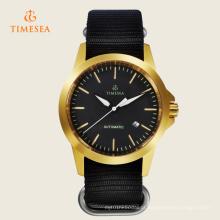 Relógio automático dos homens do movimento da caixa dourada de vidro de Safira de Timesea 72240