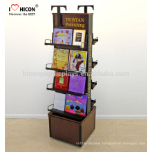 Add Your Brand Culture And Impress Readers In Store 4-Tier Wooden Flooring Rotating Brochure Book Display Stand