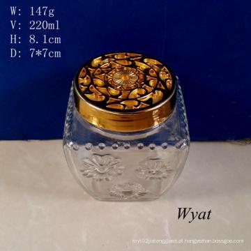 220ml gravado Aroma difusor, frasco de vidro com tampa plástica