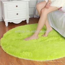 tapis rond de tapis de cheveux longs de microfibre de chambre verte