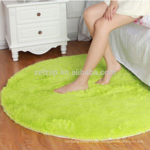 round green bedroom microfiber long hair carpet rug
