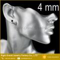 4мм нержавеющей стали 316L черный Шамбалы серьги кубический циркон уха шпильки