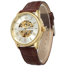 Leather Band Automatic skeleton gold dial watch