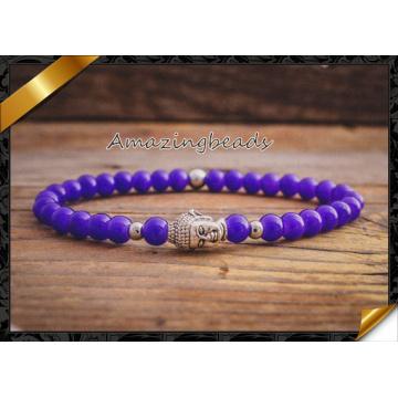 Jade Gemstone Bracelet Fashion Magnetic Silver Buddha Head Bracelet (CB041)