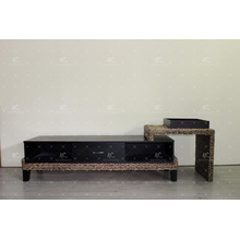 Elegant Water Hyacinth TV Cabinet Wicker Furniture