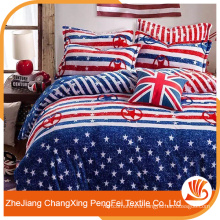 Hot printed polyester microfiber fabric bed sheet for home textile